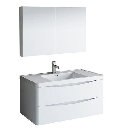 "Fresca Tuscany 40"" White Bath Bowl Vessel Drain Vanity Set w/ Cabinet & Faucet FVN9040WH-FFT1030BN"