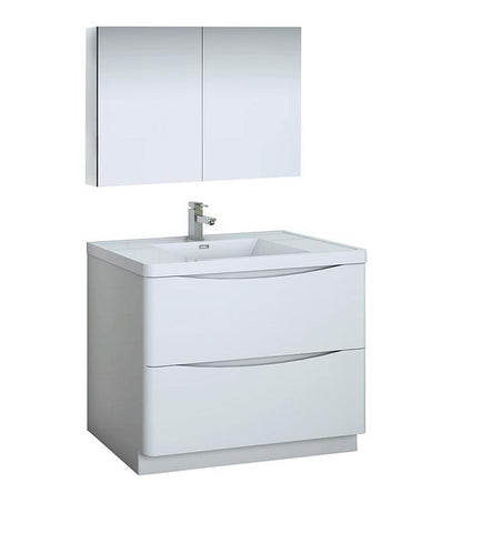 "Fresca Tuscany 40"" White Bath Bowl Vessel Drain Vanity Set w/ Cabinet & Faucet FVN9140WH-FFT1030BN"