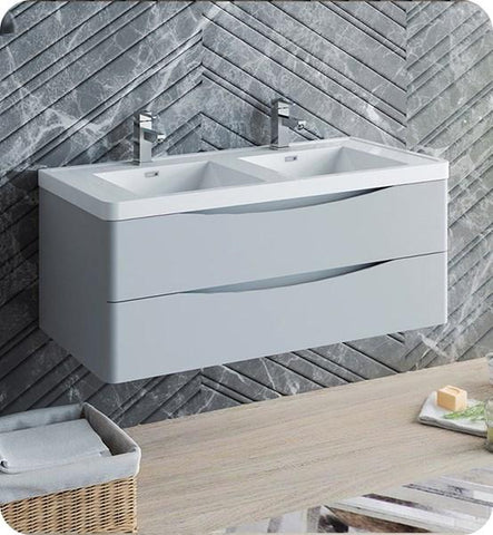 "Image of Fresca Tuscany 48"" Glossy Gray Wall Hung Modern Bathroom Cabinet w/ Integrated Double Sink 