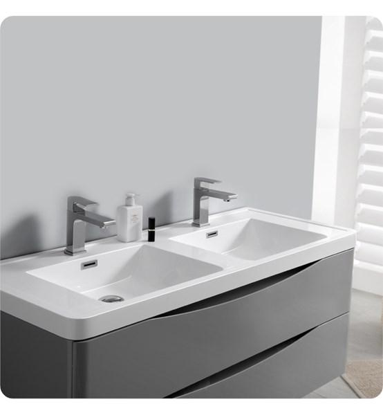 "Fresca Tuscany 48"" Glossy Gray Wall Hung Modern Bathroom Cabinet w/ Integrated Double Sink 