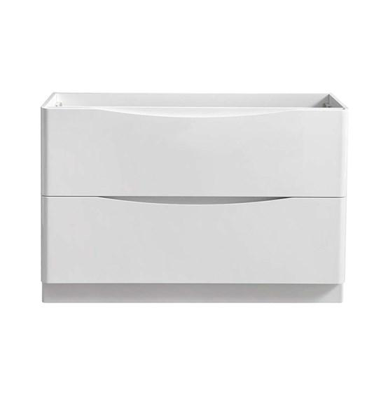 "Fresca Tuscany 48"" Glossy White Free Standing Double Sink Modern Bathroom Cabinet 
