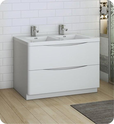 "Image of Fresca Tuscany 48"" Glossy White Free Standing Modern Bathroom Cabinet w/ Integrated Double Sink 