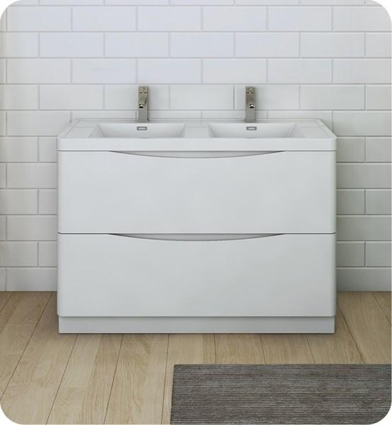 "Fresca Tuscany 48"" Glossy White Free Standing Modern Bathroom Cabinet w/ Integrated Double Sink 