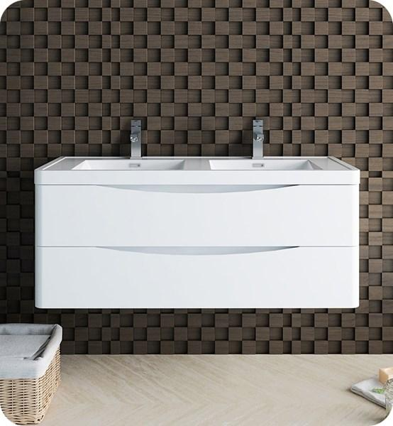 "Fresca Tuscany 48"" Glossy White Wall Hung Modern Bathroom Cabinet w/ Integrated Double Sink 