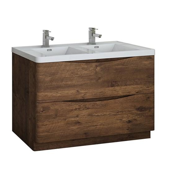 "Fresca Tuscany 48"" Rosewood Free Standing Modern Bathroom Cabinet w/ Integrated Double Sink 