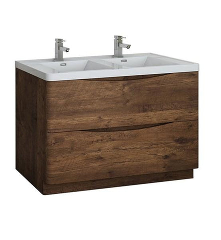 "Image of Fresca Tuscany 48"" Rosewood Free Standing Modern Bathroom Cabinet w/ Integrated Double Sink 