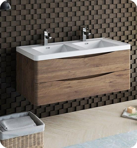 "Image of Fresca Tuscany 48"" Rosewood Wall Hung Modern Bathroom Cabinet w/ Integrated Double Sink 