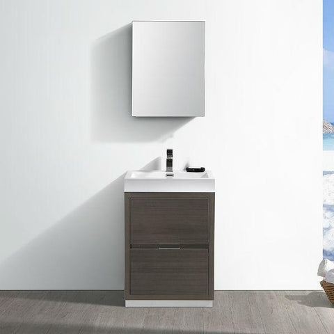 "Fresca Valencia 24"" Gray Oak Modern Single Bathroom Vanity w/ Cabinet FVN8424 FVN8424GO-FFT1030BN"
