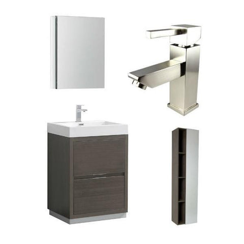 "Image of Fresca Valencia 24"" Gray Oak Modern Single Bathroom Vanity w/ Cabinet FVN8424 FVN8424GO-FFT1030BN-FST8070GO"
