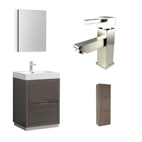 "Image of Fresca Valencia 24"" Gray Oak Modern Single Bathroom Vanity w/ Cabinet FVN8424 FVN8424GO-FFT1030BN-FST8090GO"