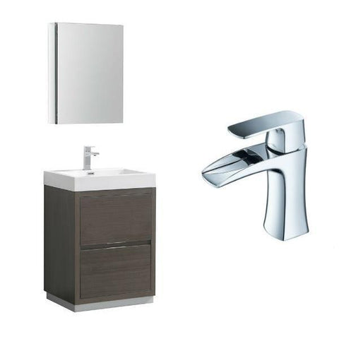 "Fresca Valencia 24"" Gray Oak Modern Single Bathroom Vanity w/ Cabinet FVN8424 FVN8424GO-FFT3071CH"