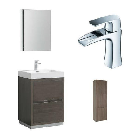 "Image of Fresca Valencia 24"" Gray Oak Modern Single Bathroom Vanity w/ Cabinet FVN8424 FVN8424GO-FFT3071CH-FST8090GO"