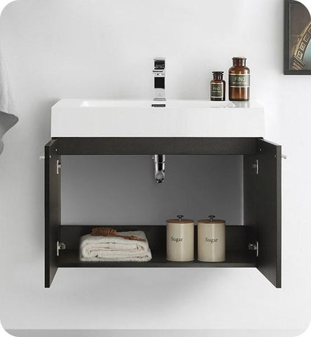 "Image of Fresca Vista 30"" Black Wall Hung Modern Bathroom Cabinet w/ Integrated Sink 