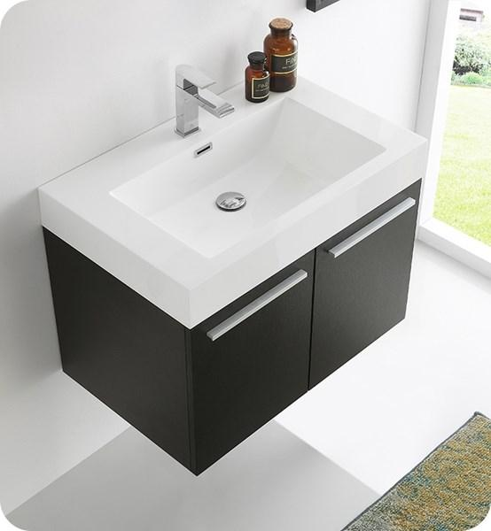 "Fresca Vista 30"" Black Wall Hung Modern Bathroom Cabinet w/ Integrated Sink 