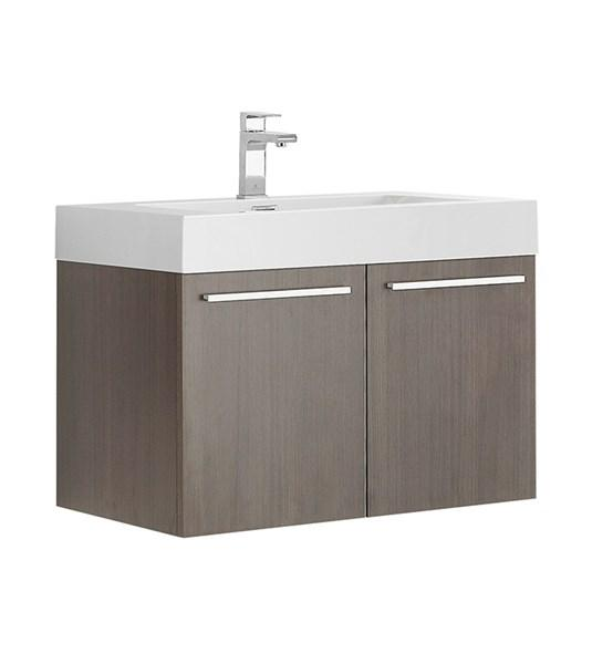 "Fresca Vista 30"" Gray Oak Wall Hung Modern Bathroom Cabinet w/ Integrated Sink 