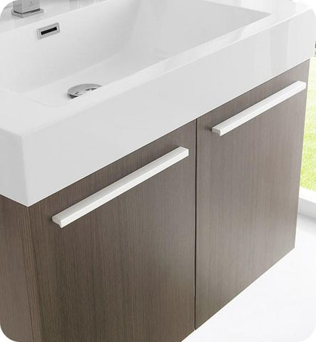 "Image of Fresca Vista 30"" Gray Oak Wall Hung Modern Bathroom Cabinet w/ Integrated Sink 
