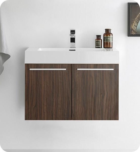 "Fresca Vista 30"" Walnut Wall Hung Modern Bathroom Cabinet w/ Integrated Sink 