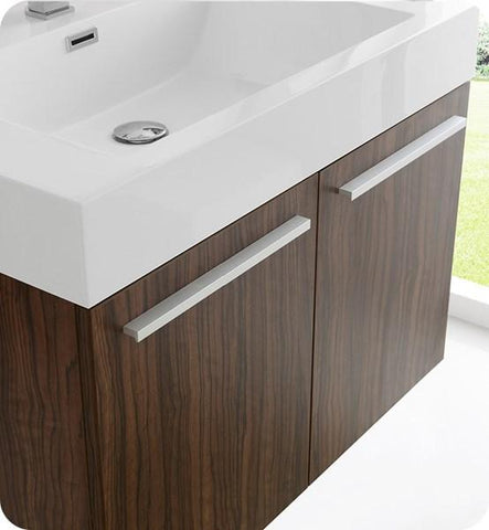 "Image of Fresca Vista 30"" Walnut Wall Hung Modern Bathroom Cabinet w/ Integrated Sink 