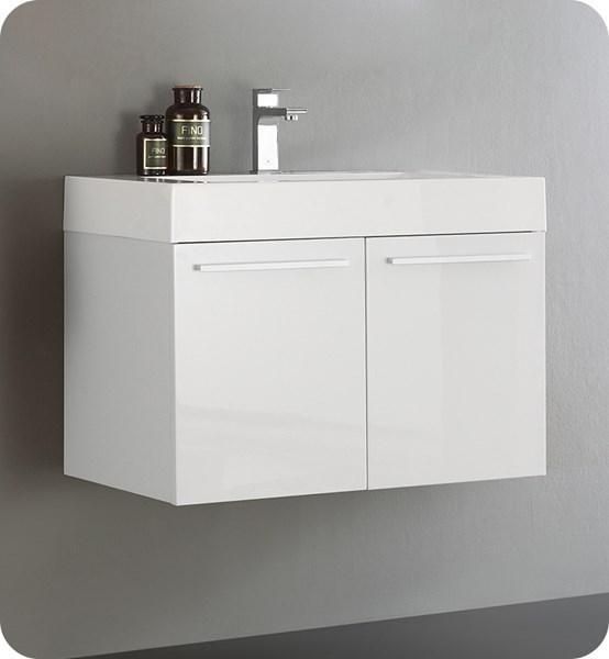 "Fresca Vista 30"" White Wall Hung Modern Bathroom Cabinet w/ Integrated Sink 