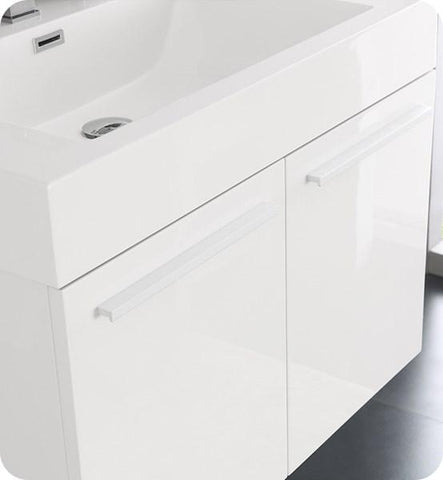 "Image of Fresca Vista 30"" White Wall Hung Modern Bathroom Cabinet w/ Integrated Sink 