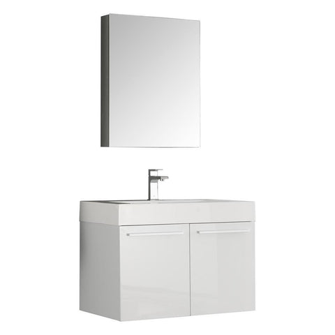 "Image of Fresca Vista 30"" White Wall Hung Modern Bathroom Vanity w/ Medicine Cabinet FVN8089WH-FFT1030BN"