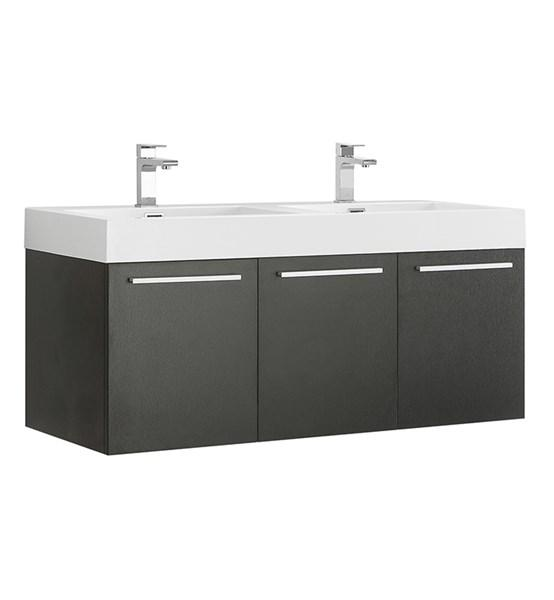 "Fresca Vista 48"" Black Wall Hung Double Sink Modern Bathroom Cabinet 