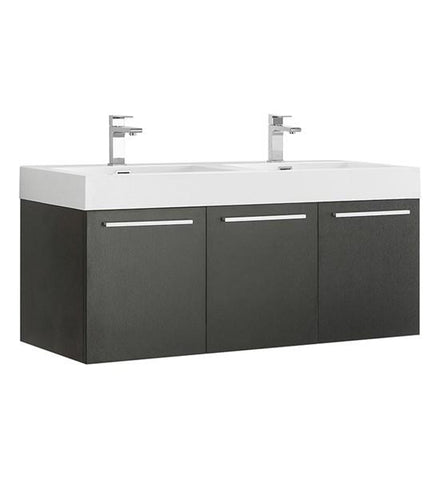 "Image of Fresca Vista 48"" Black Wall Hung Double Sink Modern Bathroom Cabinet w/ Integrated Sink 
