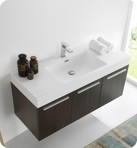 "Image of Fresca Vista 48"" Gray Oak Wall Hung Modern Bathroom Cabinet w/ Integrated Sink 