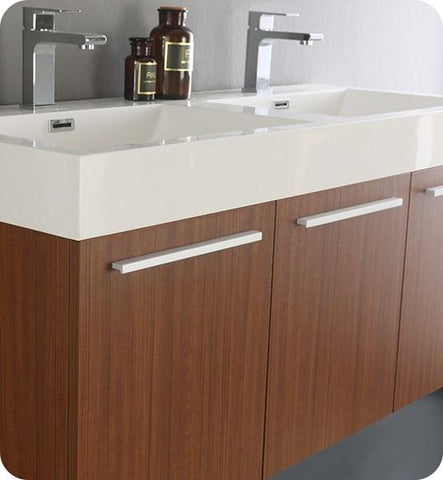 "Image of Fresca Vista 48"" Teak Wall Hung Double Sink Modern Bathroom Cabinet 
