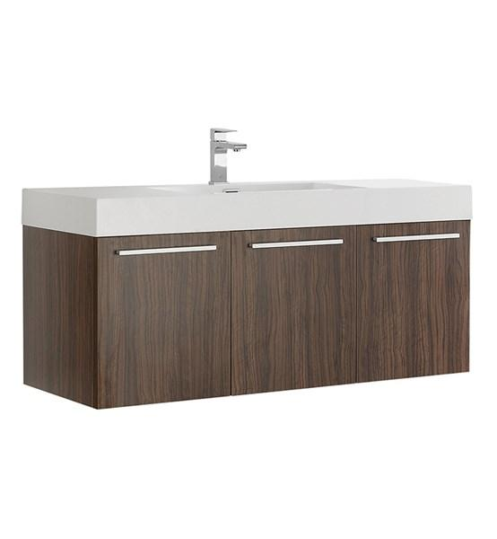 "Fresca Vista 48"" Walnut Wall Hung Modern Bathroom Cabinet w/ Integrated Sink 