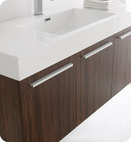 "Image of Fresca Vista 48"" Walnut Wall Hung Modern Bathroom Cabinet w/ Integrated Sink 