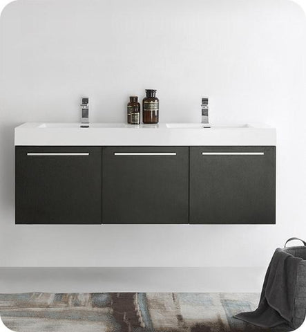 "Image of Fresca Vista 60"" Black Wall Hung Double Sink Modern Bathroom Cabinet w/ Integrated Sink 