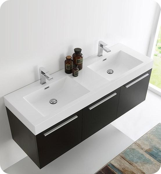 "Fresca Vista 60"" Black Wall Hung Double Sink Modern Bathroom Cabinet w/ Integrated Sink 