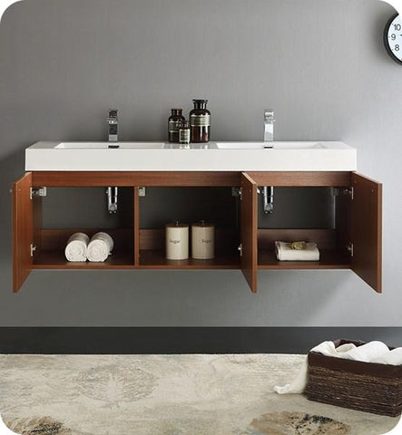 "Image of Fresca Vista 60"" Teak Wall Hung Double Sink Modern Bathroom Cabinet w/ Integrated Sink 