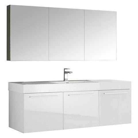 "Image of Fresca Vista 60"" Wall Hung Bathroom Vanity FVN8093WH-FFT1030BN"