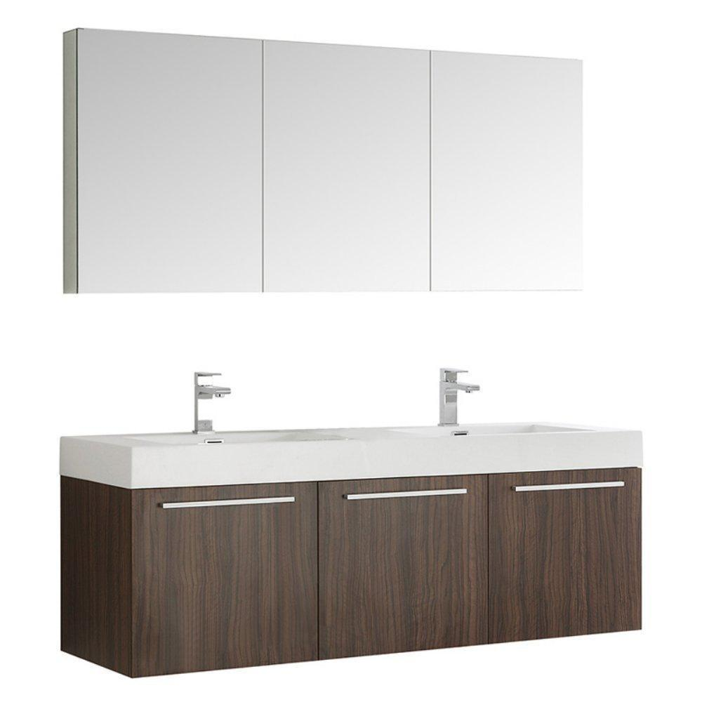 "Fresca Vista 60"" Wall Hung Double Sink Vanity FVN8093BW-D-FFT1030BN"