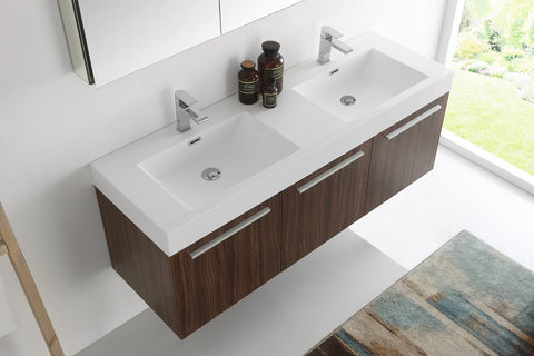 "Image of Fresca Vista 60"" Wall Hung Double Sink Vanity FVN8093BW-D-FFT1030BN"