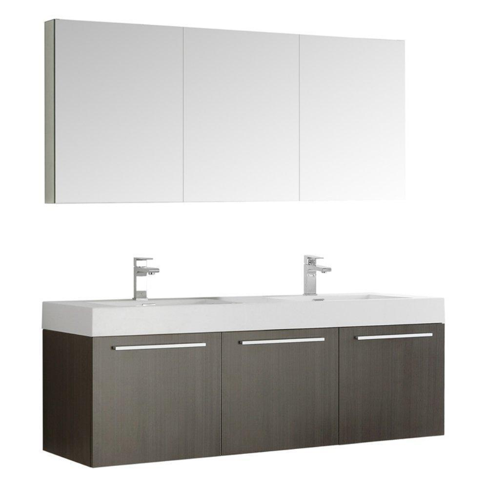 "Fresca Vista 60"" Wall Hung Double Sink Vanity FVN8093GO-D-FFT1030BN"