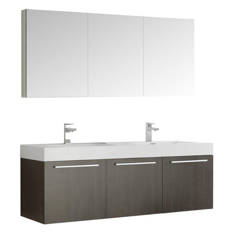 "Image of Fresca Vista 60"" Wall Hung Double Sink Vanity FVN8093GO-D-FFT1030BN"