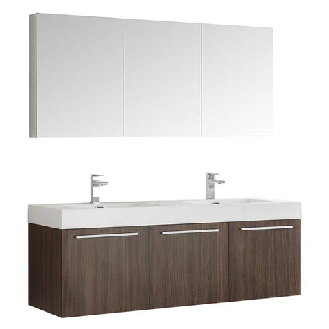 "Image of Fresca Vista 60"" Wall Hung Double Sink Vanity FVN8093GW-D-FFT1030BN"
