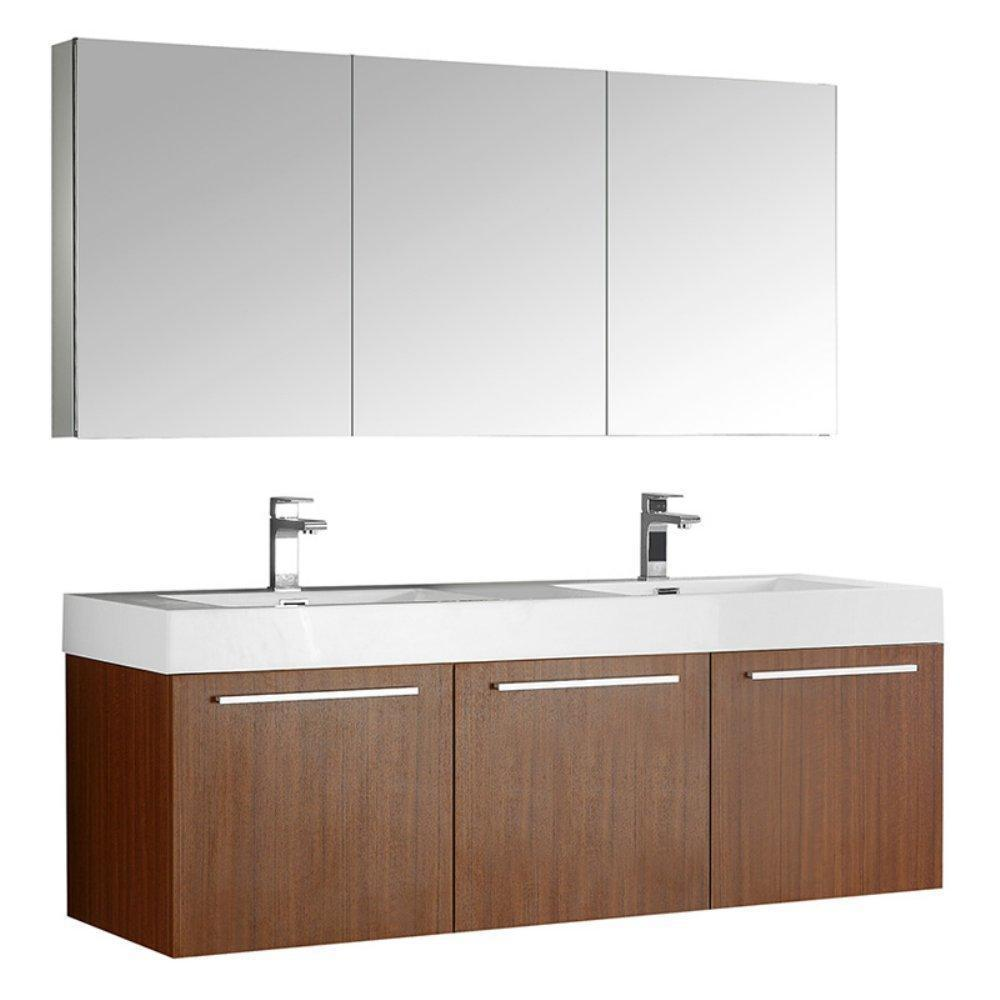 "Fresca Vista 60"" Wall Hung Double Sink Vanity FVN8093TK-D-FFT1030BN"
