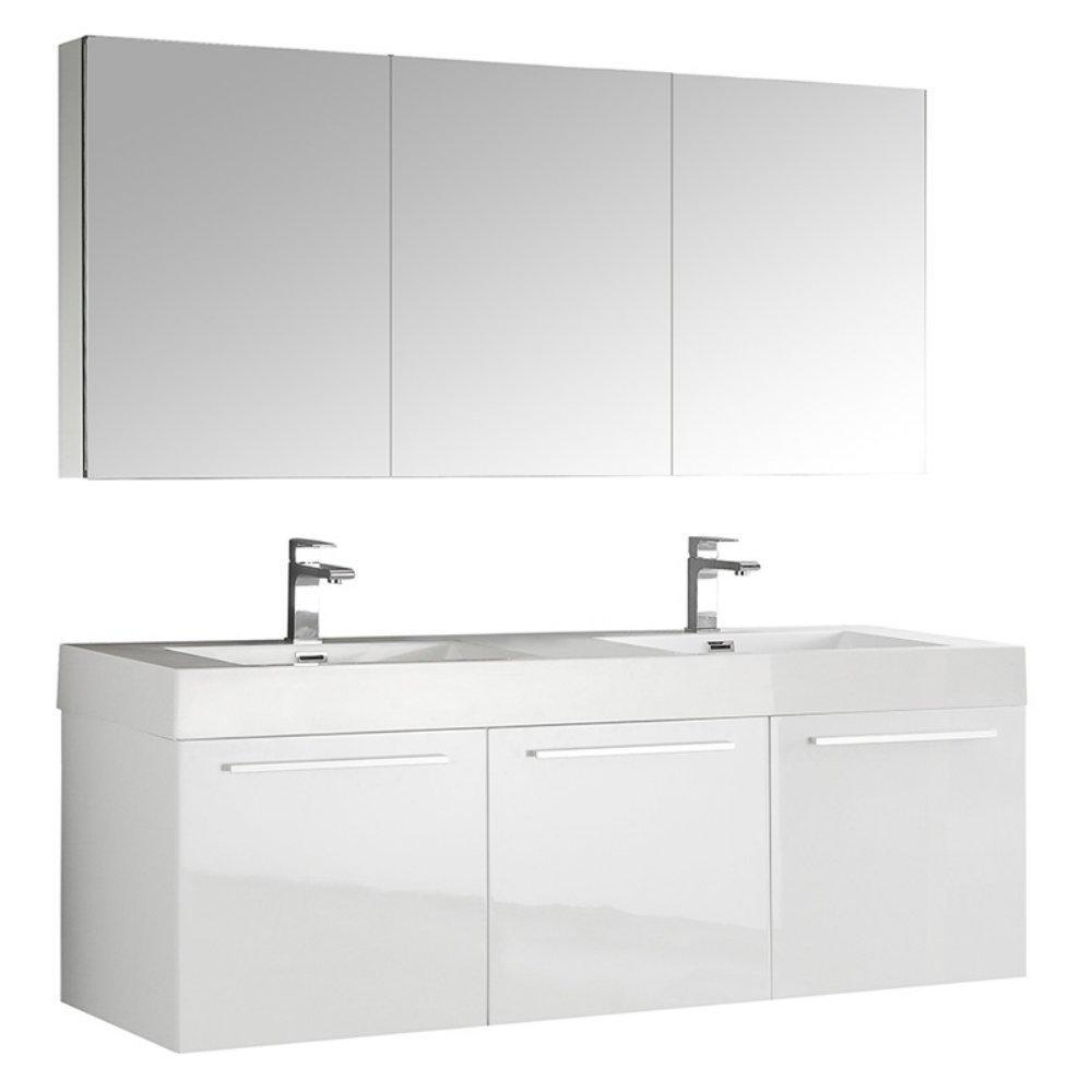 "Fresca Vista 60"" Wall Hung Double Sink Vanity FVN8093WH-D-FFT1030BN"