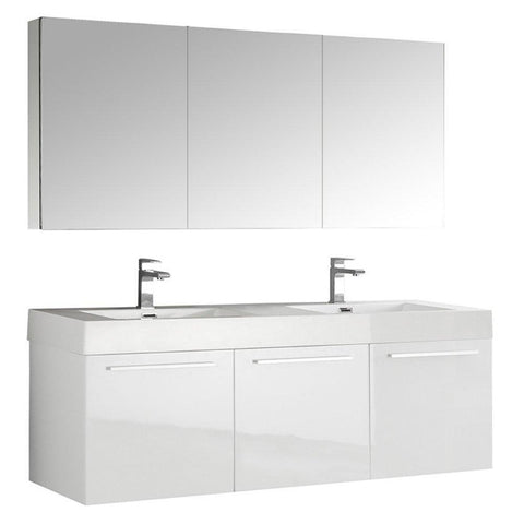 "Image of Fresca Vista 60"" Wall Hung Double Sink Vanity FVN8093WH-D-FFT1030BN"