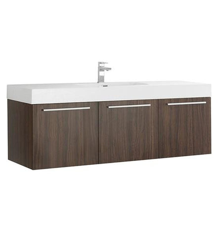 "Image of Fresca Vista 60"" Walnut Wall Hung Single Sink Modern Bathroom Cabinet w/ Integrated Sink 