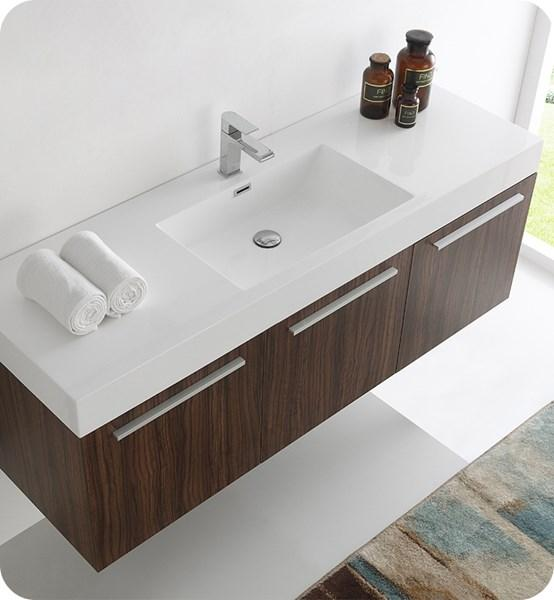 "Fresca Vista 60"" Walnut Wall Hung Single Sink Modern Bathroom Cabinet w/ Integrated Sink 
