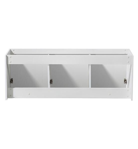 "Fresca Vista 60"" White Wall Hung Double Sink Modern Bathroom Cabinet 