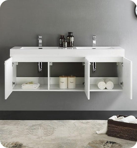 "Image of Fresca Vista 60"" White Wall Hung Double Sink Modern Bathroom Cabinet w/ Integrated Sink 