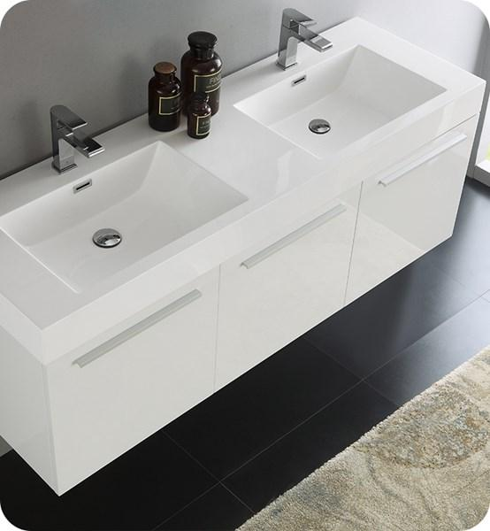 "Fresca Vista 60"" White Wall Hung Double Sink Modern Bathroom Cabinet w/ Integrated Sink 