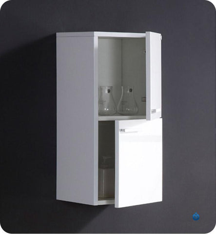 Image of Fresca White Bathroom Linen Side Cabinet w/ 2 Storage Areas FST8091WH