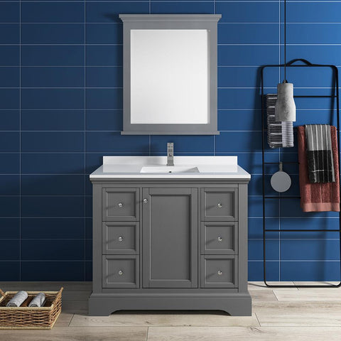 "Fresca Windsor 40"" Gray Textured Traditional Bathroom Vanity FVN2440GRV-FFT1030BN"